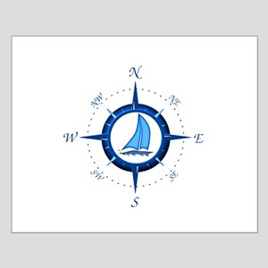 Sailboat And Blue Compass Posters